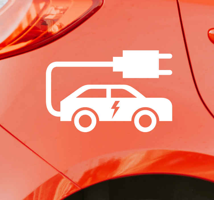 TenStickers. Electric Vehicle Stickers. Show all around you that you are driving an electric car with this fantastic monocolour electric car sticker! Choose your size.