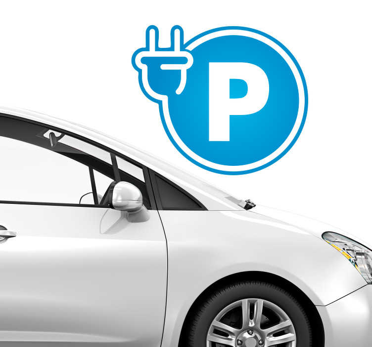 TenStickers. Bedrijfsstickers electrische auto parkeerplaats. Parkeerplaats sticker, oplaadpunt sticker, garage sticker of bumper sticker: Onze muurstickers voor garage, stickers voor auto: pimp uw auto op!