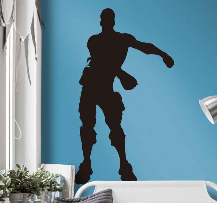 """TenStickers. Sticker Maison Silhouette Fortnite. Vous êtes un grand fan du célèbre jeu vidéo Fortnite ? Ce sticker mural jeu vidéo vous rendra heureux et apportera à vos murs une touche """"gamer"""" !"""