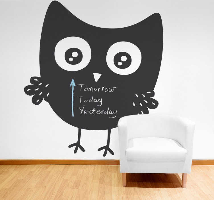TenStickers. Owl Blackboard Sticker. This blackboard wall sticker is part of our collection of owl wall stickers. Place it on your wall and let your children write whatever they want on it. You can decorate any room at home or at work.