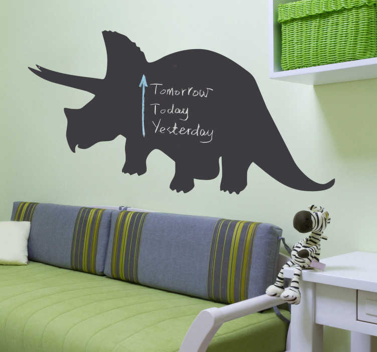 TenStickers. Triceratops Dinosaur Blackboard Sticker. Blackboard Stickers - Silhouette of a Triceratops from our collection of dinosaur wall decals. Chalkboard wall sticker ideal for decorating any room, and practical for writing notes. Personalise your child's bedroom with this awesome design and scribble away to your heart's content!