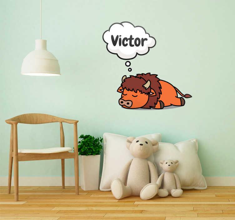 TenStickers. Sticker Chambre Enfant Bison avec Prénom. Vous pouvez choisir vous-même quel prénom vous souhaitez assigner à votre autocollant dessin de bison endormi, pour un résultat totalement personnel