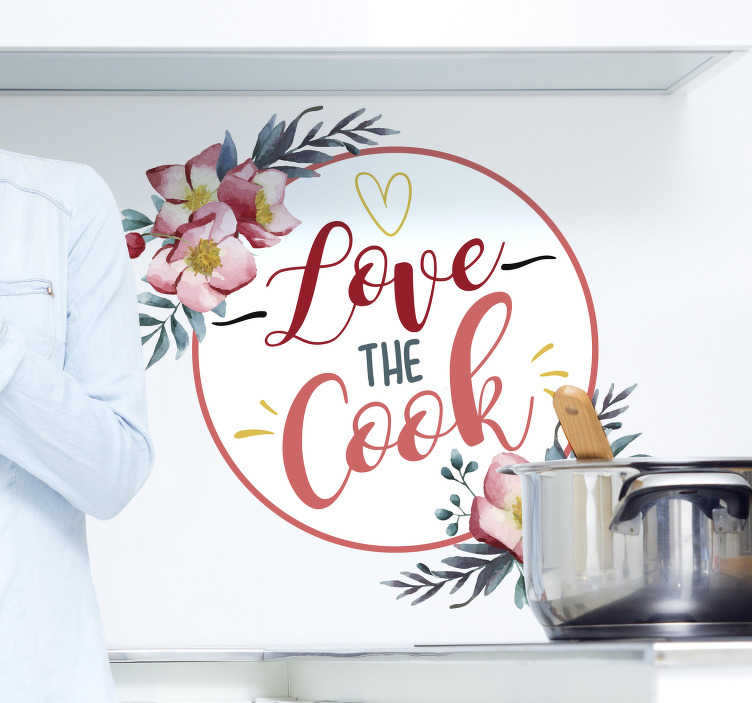"""TenVinilo. Vinilo floral frase amo cocinar. Original y colorida pegatina para la cocina formada por el texto """"Love the cook"""" acompañada de varios detalles. Vinilos Personalizados a medida."""
