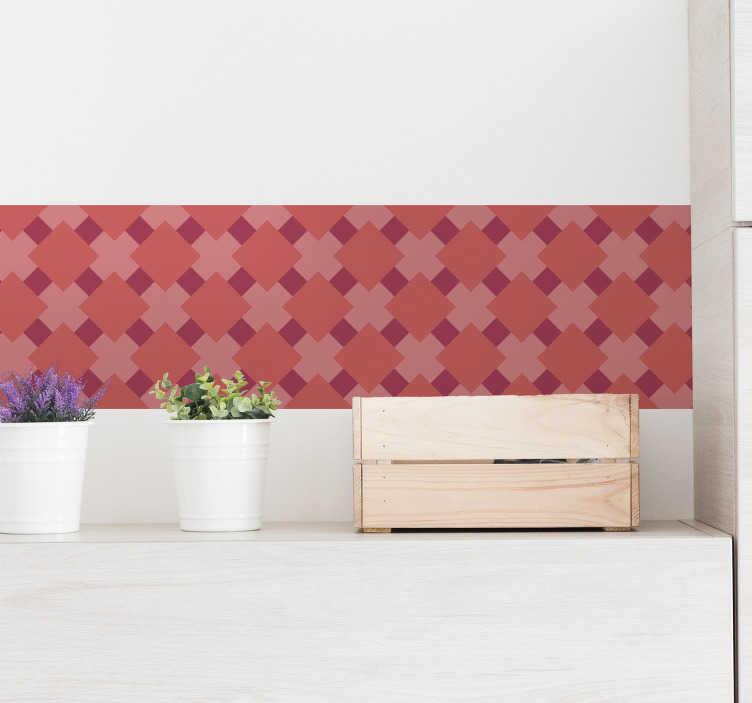 TenVinilo. Azulejos adhesivo azulejos living coral. Cenefa de estilo geométrico ideal para renovar o decorar cualquier estancia en tonos del color en tendencia linving coral. Envío Express en 24/48h.