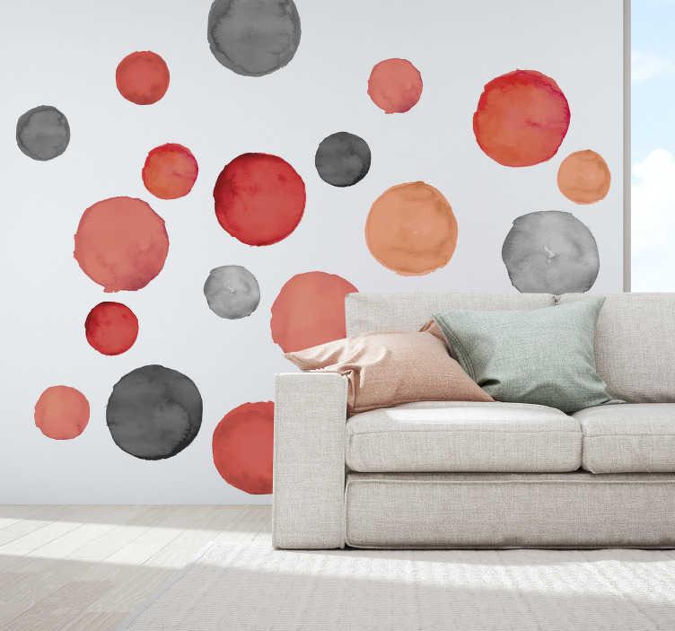 TenVinilo. Vinilo pared círculos grises y coral pantone. Original pegatina adhesiva formada por un patrón de círculos de diferentes tamaños y en tonos coral y grises. Atención al Cliente Personalizada.