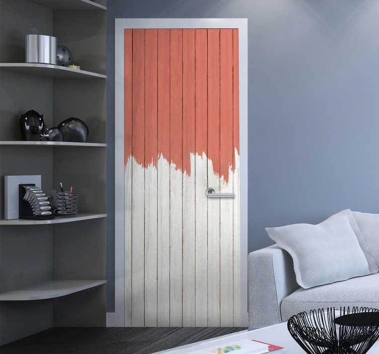 TenVinilo. Vinilo para puerta color pantone living coral. Vinilo para puerta que simula unas lamas de madera pintadas mitad en color blanco y la otra mitad en living coral. +50 Colores Disponibles.