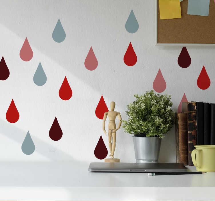 TenStickers. Sticker Forme Dessins de Gouttes d'eau. Commencez à aimer la pluie avec ce sticker maison ! Un autocollant géométrique de plusieurs gouttes de pluie colorées, pour embellir vos murs