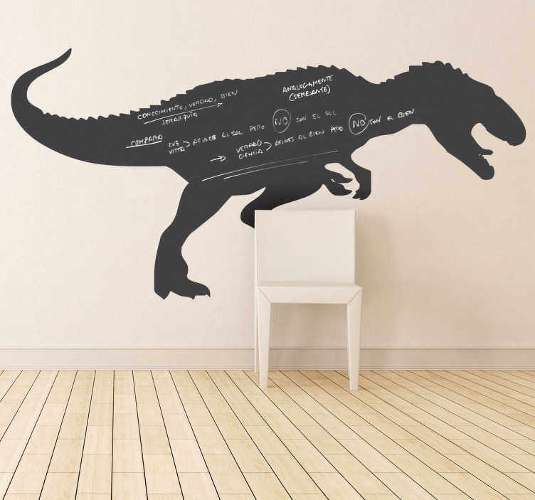 TenStickers. Tyrannosaurus rex tavle klistermærke. Tavle klistermærker - silhuet af en t. Rex dinosaur. Skifer klisterdesign ideel til at dekorere ethvert værelse, også praktisk til skrive notater. Egnet til alle aldre. Fås i forskellige størrelser.