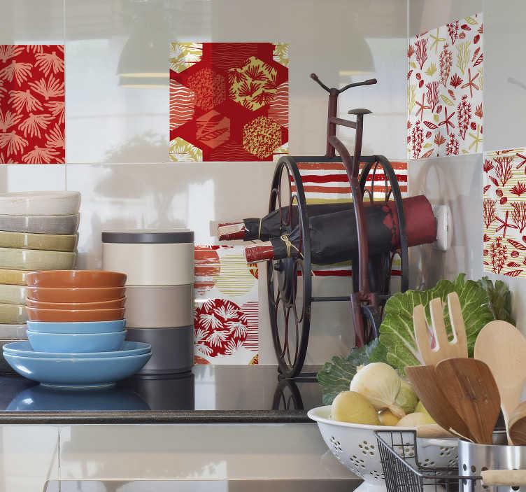 TenVinilo. Set azulejos adhesivos living coral. Cenefa adhesiva para cocina formada por un estampado marino en tonos Living Coral, blanco y amarillo. Atención al Cliente Personalizada.