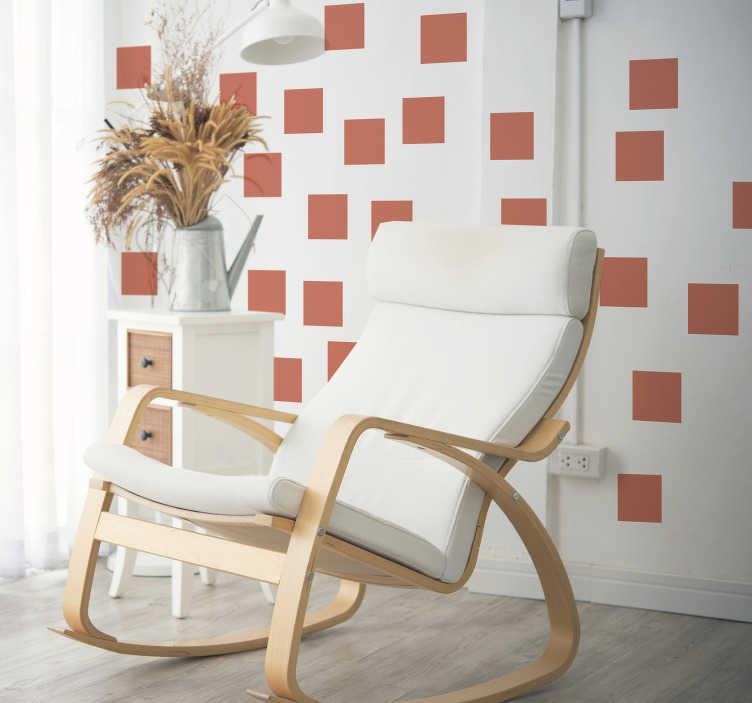 TenVinilo. Vinilo pared set de cuadrados living coral. Original patrón adhesivo formado por 25 pegatinas cuadras en tonos Living Coral ideales para renovar y decorar cualquier estancia. Precios imbatibles.