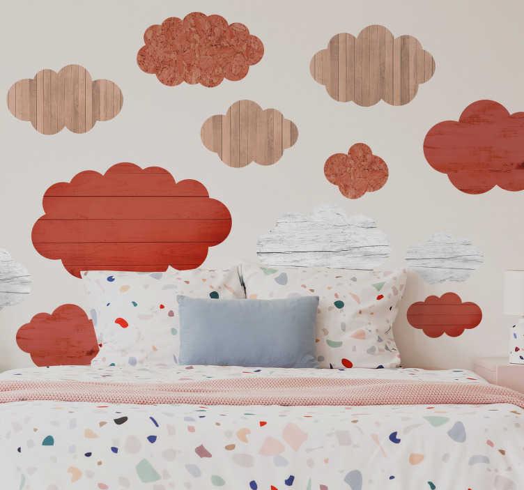 TenStickers. Sticker Texture Bois Nuages. Une façon originale de décorer la chambre de son enfant que ce sticker mural illusion est designé pour imiter une texture de bois en forme de nuages