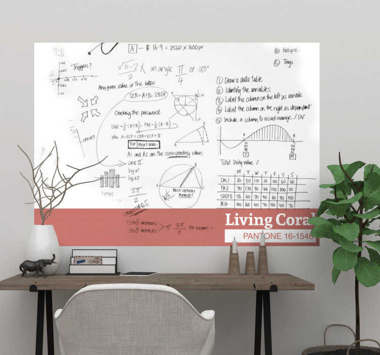 TenStickers. Living Coral Whiteboard Sticker. Add some living coral to your home with this fantastic whiteboard sticker, depicting the 2018 colour of the year at its best! Choose your size.