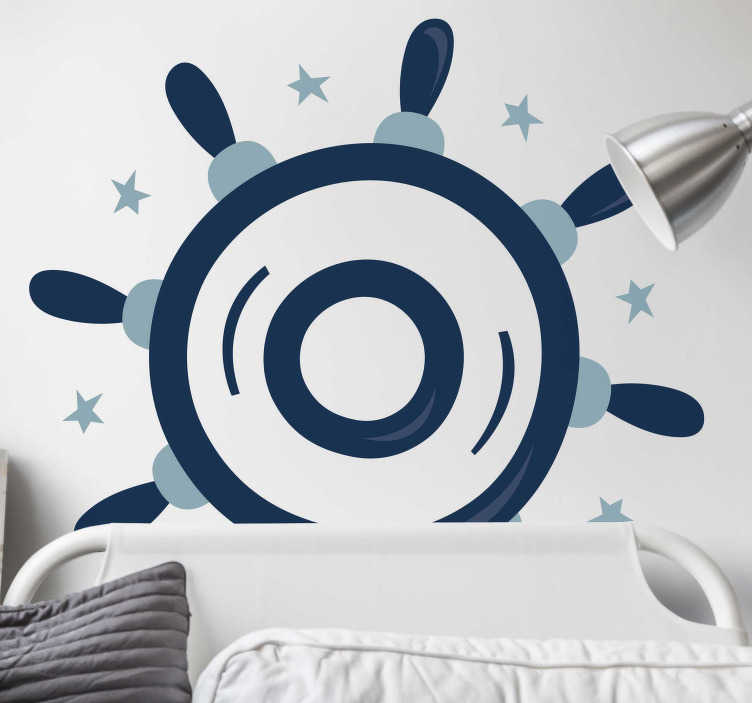 TenStickers. Helm Wall Sticker. This monochrome design of a helm from our collection of sea wall stickers is ideal for those that love the sea life and need some wall decoration.