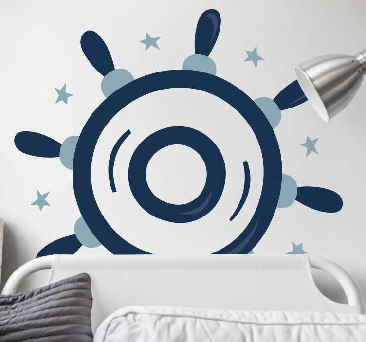 TenStickers. Sticker mural volant bateau. Réveillez en vous votre âme de chef d'équipage avec ce stickers représentant le volant d'un navire.Une jolie idée pour une décoration d'intérieure originale.
