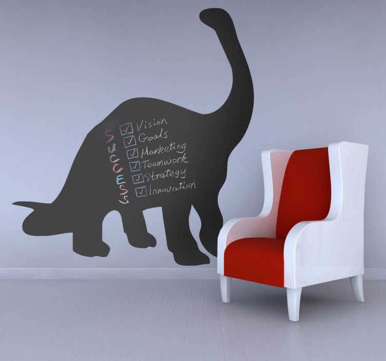 TenStickers. Diplodocus Dinosaur Blackboard Sticker. Blackboard Stickers- Silhouette of a Diplodocus dinosaur. Slate sticker design ideal for decorating any room, also practical for writing notes.