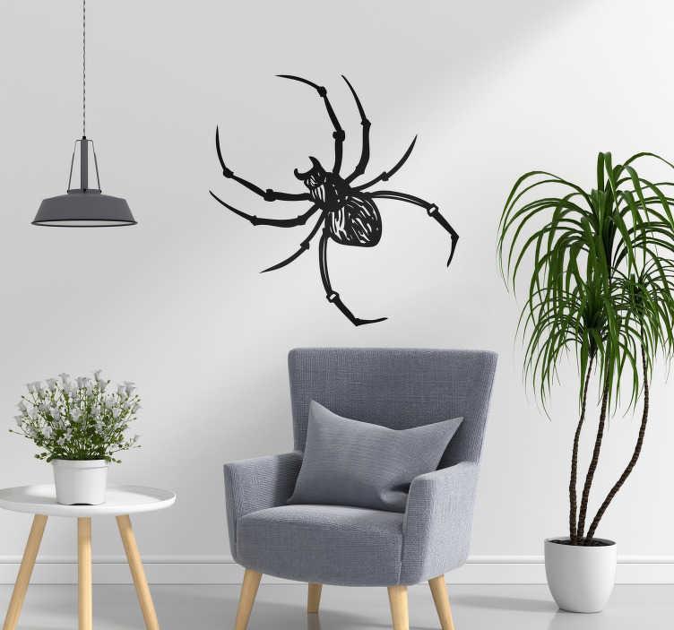 TenStickers. Sticker Maison Dessin Araignée. Vous êtes un amoureux des insectes ? Ce sticker mural d'araignée embellira parfaitement les murs de tout type de pièce !