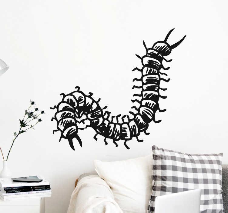 TenVinilo. Vinilo para pared insecto cienpies. Fantástica pegatina adhesiva para habitación juvenil formada por la ilustración de un cienpies. Compra Online Segura y Garantizada.