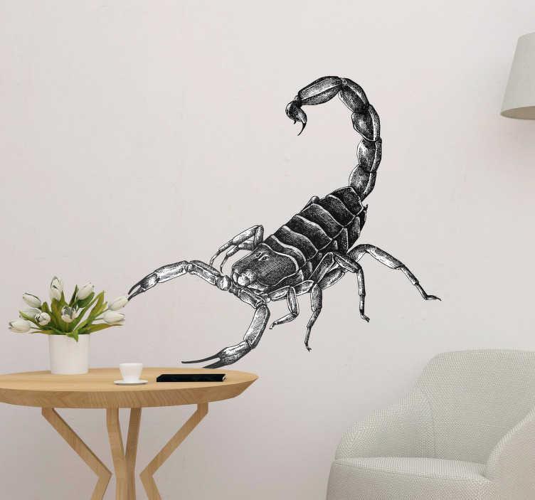 TenVinilo. Vinilo para pared insecto escorpión. Fantástica pegatina decorativa adhesiva formada por el dibujo de un auténtico escorpión. Fácil aplicación y sin burbujas.