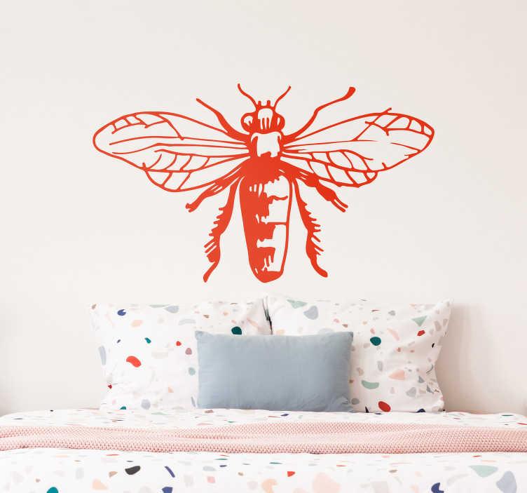 TenStickers. Bee illustratie insect muursticker. Decoratieve bijen insecten muursticker voor woondecoratie. Verkrijgbaar in alle gewenste maten. Het komt in verschillende kleuropties en gemakkelijk aan te brengen.