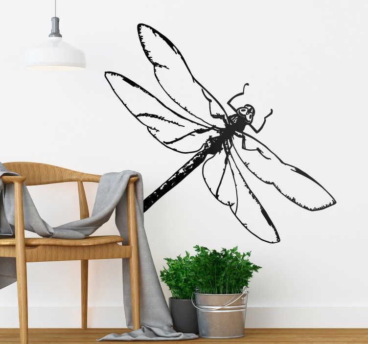 TenStickers. Sticker Maison Dessin Libellule. Envie d'une décoration originale qui vous donne des ailes ? Nous avons ce qu'il vous faut avec cet autocollant insecte de libellule !