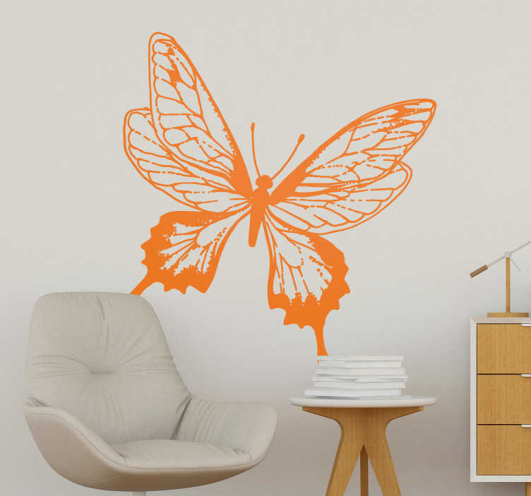 TenVinilo. Vinilo insecto Ilustración Mariposa. Pegatina adhesiva ideal para decorar cualquier estancia de tu hogar formada por la ilustración de una elegante mariposa. Precios imbatibles.