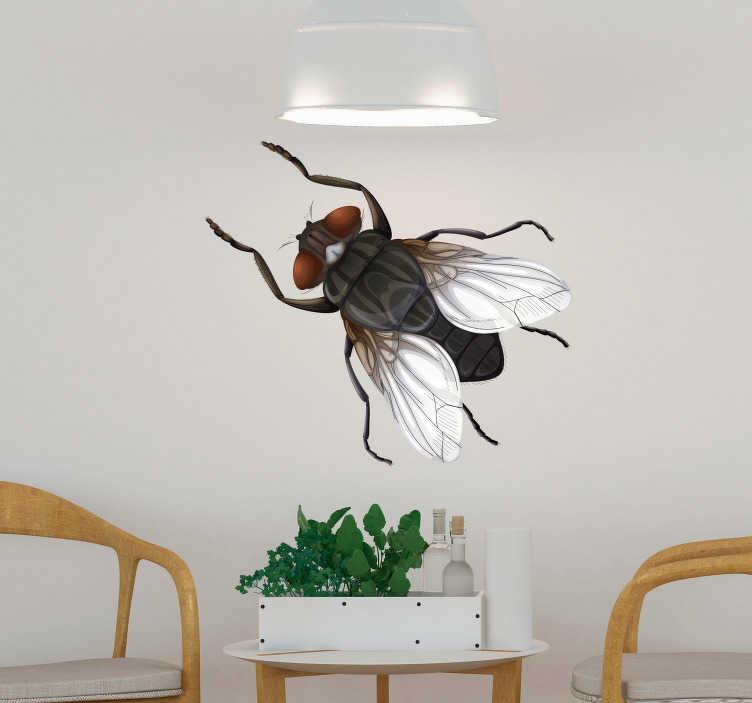 TenVinilo. Vinilo insecto ilustración mosca. Original pegatina adhesiva para pared formada por la ilustración de una mosca a todo color. Atención al Cliente Personalizada.