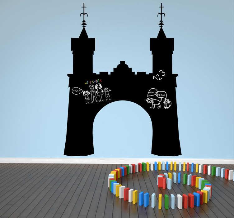 TenVinilo. Vinilo pizarra entrada castillo. Una llamativa pizarra con la forma silueteada de una monumental entrada a una ciudad medieval. Viajar al pasado es fácil con este original adhesivo.