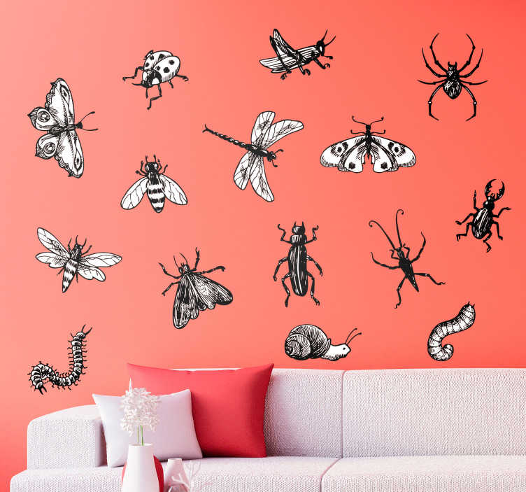 TenStickers. Insect Kit Living Room Wall Decor. Decorate your wall with a group of insects thanks to this fantastic sheet of animal wall stickers, depicting various types of insect!