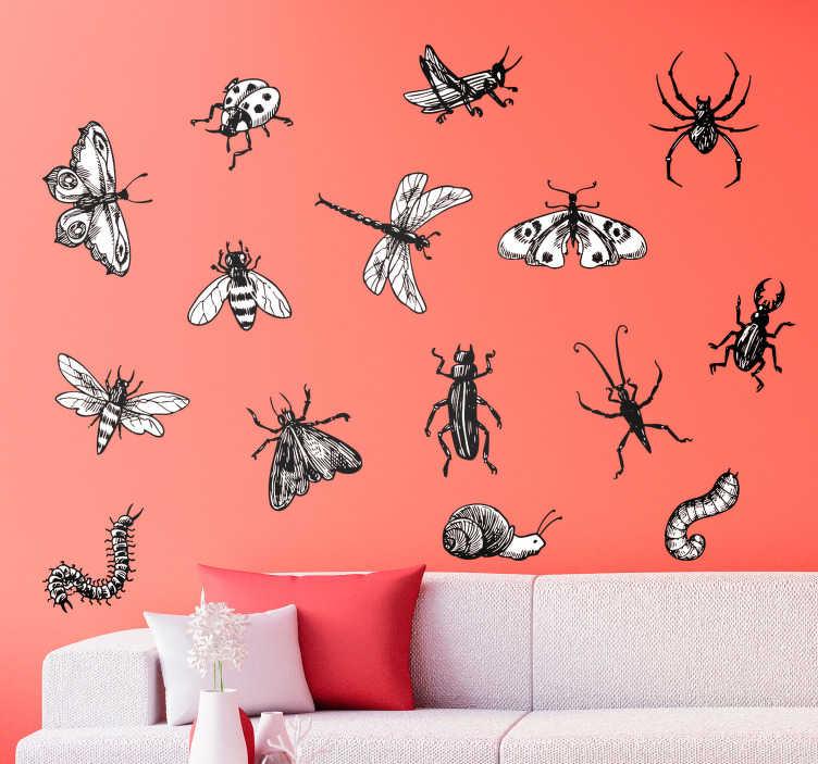 TenStickers. Insekten-set wohnzimmer wandtattoo. Dekoriere deine wand mit einer gruppe von insekten dank dieses fantastischen blattes mit tierischen wandaufklebern, auf denen verschiedene insektentypen abgebildet sind!