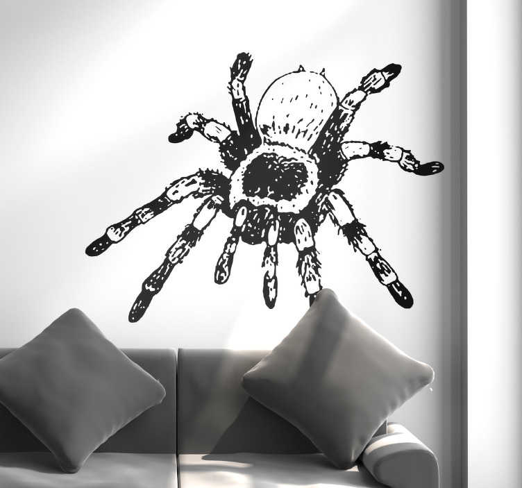 TenStickers. Tarantula Animal Wall Sticker. Pay tribute to the might of the Tarantula, thanks to this stunning black and white animal themed wall sticker! Extremely long-lasting material.