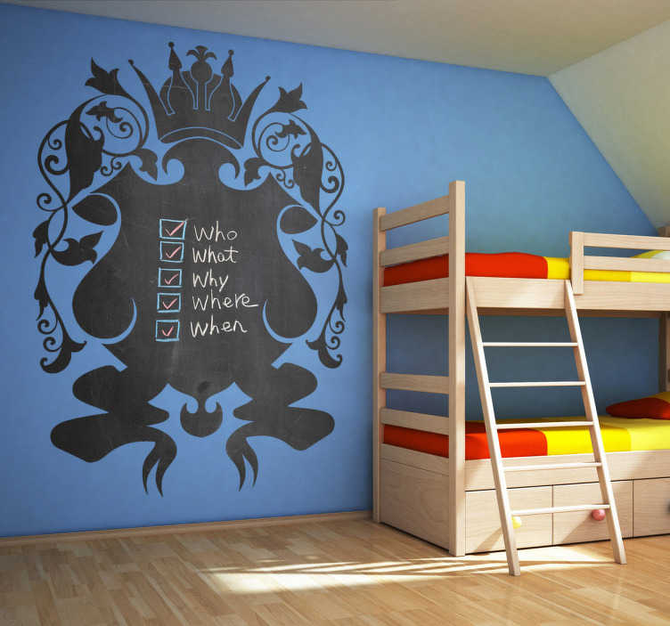 TenStickers. Royal Shield Blackboard Sticker. Blackboard Stickers - Royal shield chalkboard shape perfect for decorating the bedroom.