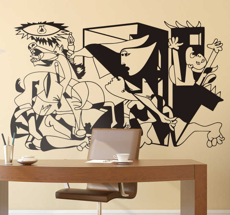 TenStickers. Picasso Guernica wall art sticker. Bring this iconic work of the legendary artist Pablo Picasso into your home with this epic Guernica Picasso wall sticker. Choose from over 50 colours!