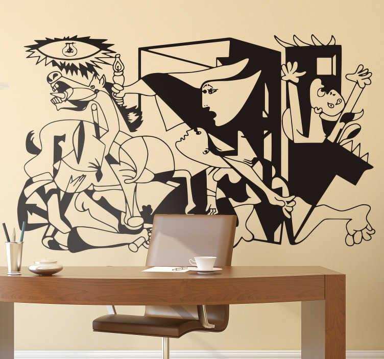 TenStickers. Sticker Original Guernica. Pour tous les grands amoureux de l'histoire de l'art, cet autocollant art représentant Guernica de Picasso étonnera vos invités !
