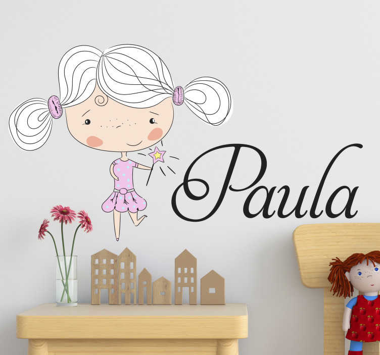 TenStickers. Fairy Customisable Wall Sticker. Personalise your child´s bedroom in a magical fashion with this fantastic, fairy inspired, customisable child´s bedroom sticker!