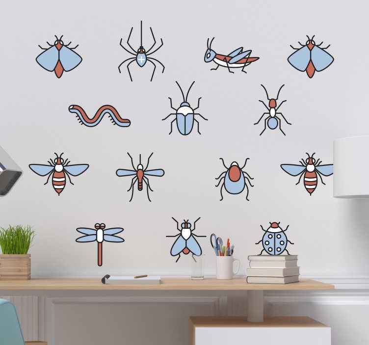 TenStickers. Sticker Maison Kit Insectes. Trouvez ici un kit de stickers insectes, représentant différents types d'insectes, afin de donner de l'originalité à vos murs !
