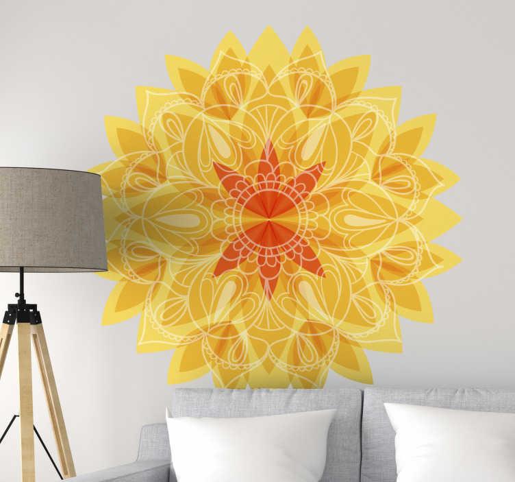 TenStickers. Naklejka z rysunkiem mandala kwiat lotosu. Naklejka na ścianę przedstawia mandalę przypominającą żółty, piękny kwiat lotosu, który jednocześnie jest subtelną oraz wyrazistą ozdobą.