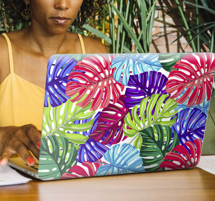 TenStickers. Tropical Leaves Laptop Sticker. Decorate your laptop with some tropical leaves, thanks to this absolutely stunning laptop skin sticker! Personalised stickers.