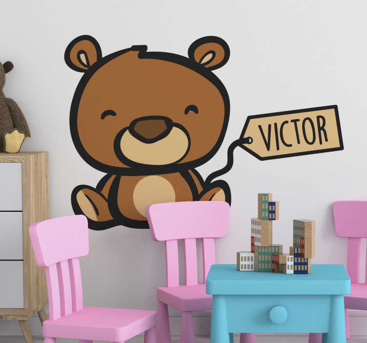 TenStickers. Teddy Bear Name Customisable Wall Sticker. Personalise your child´s bedroom with this fantastic teddy bear inspired customisable animal wall sticker! Discounts available.