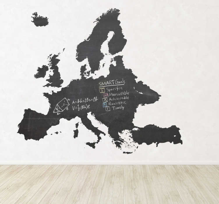 TenStickers. Europe Blackboard Sticker. Blackboard Stickers - Silhouette wall sticker of the continent of Europe. Chalkboard wall sticker design ideal for decorating any room, also practical for writing notes. Decorate your walls with this European decal allowing you to write and draw easily at any time.