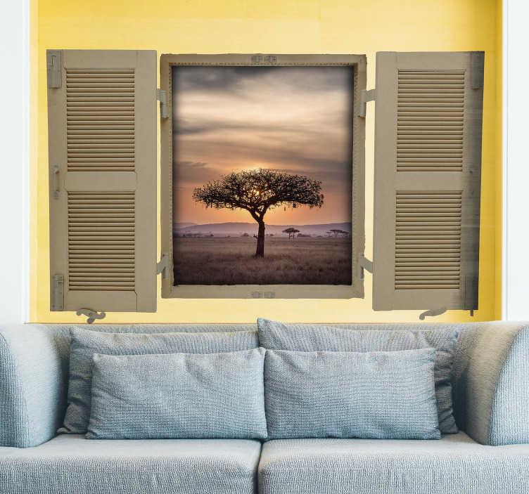 TenStickers. Sticker Maison Paysage Savane. Rien de tel pour une décoration unique qu'un sticker trompe-l'oeil de paysage de la savane, pour un peu de chaleur et de soleil à votre intérieur !