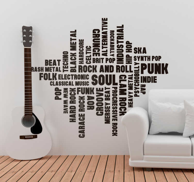 TenStickers. Music Styles Home Wall Sticker. Pay tribute to the general wonder of music with this fantastic typography themed musical wall decal! Available in 50 colours.