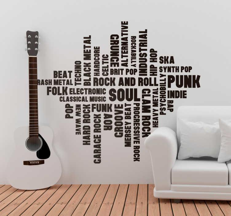 TenStickers. 음악 스타일 거실 벽 장식. 놀라운 데칼 스티커의 도움을 받아 벽을 돋보이게 만드십시오. 거품 방지 비닐을 사용하고 제거시 손상이나 잔류 물을 남기지 않습니다.
