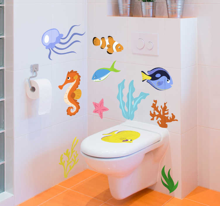 TenStickers. Marine Animals Fish Wall Sticker. Decorate your bathroom in a maritime theme with this fantastic collection of marine inspired animal stickers, perfect for children!