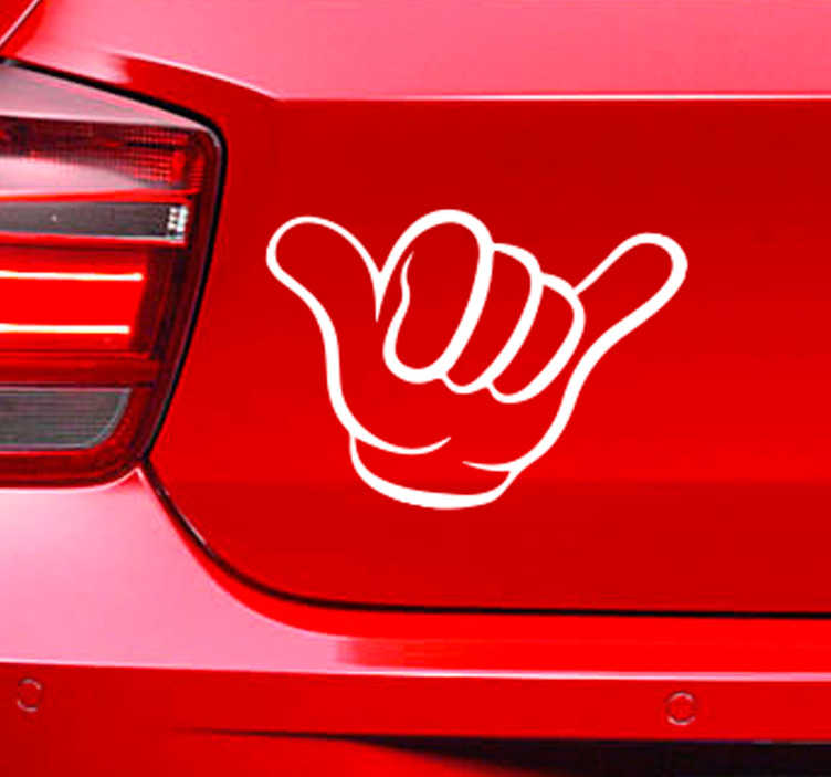 TenStickers. Fun Hand Monocolour Car Sticker. Decorate your car with this fantastically fun vehicle sticker, showing a hand making a cheekily happy gesture! Available in 50 colours.