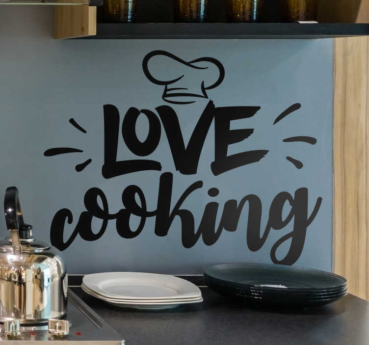 TenStickers. Love Cooking Kitchen Sticker. Calling all cooks! Whether you are genuinely the second coming of Gordon Ramsay, or if you just love to cook, this kitchen decal is for you!