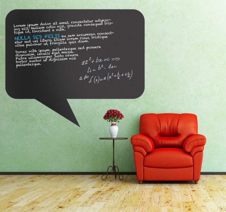 TenVinilo. Vinilo de pizarra globo cómic rectangular. Adhesivo con la típica forma en la que se escriben los textos de un cómic. Redacta los tuyos en una graciosa pizarra.