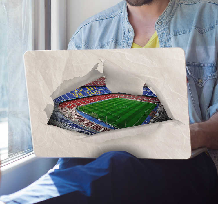 TenStickers. Camp Nou Laptop Skin Sticker. If you love football and love Barcelona, then this visual effects inspired laptop decal is the one for you! Anti-bubble vinyl.