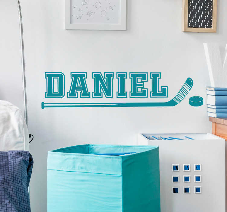 TenStickers. Hockey Stick Customisable Sticker. Decorate your bedroom or home with a fantastic piece of customised hockey decor thanks to this superb custom vinyl sticker! Easy to apply.