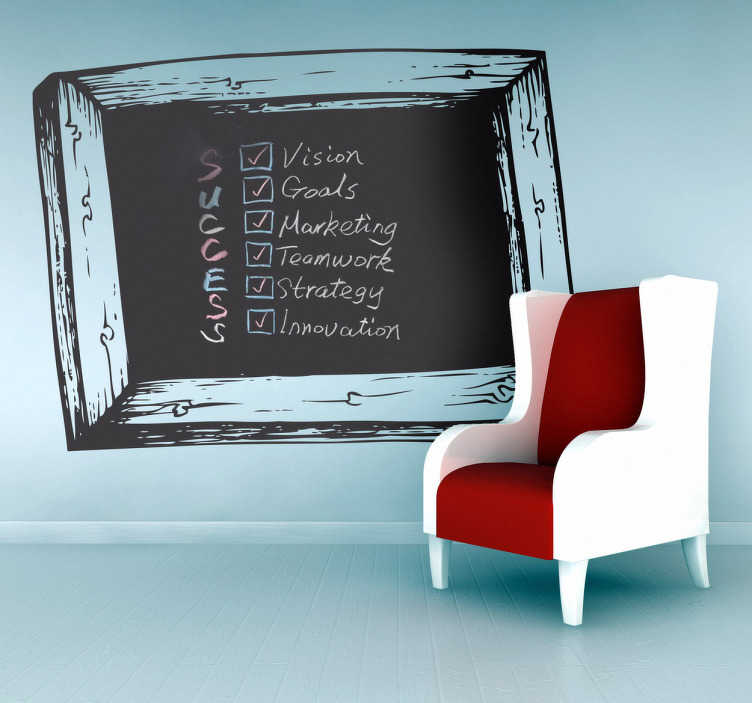 TenStickers. Blackboard Slate Sticker. Blackboard Wall Stickers - Wooden frame chalkboard wall sticker design ideal for decorating any room, also practical for writing notes and sketching ideas. Suitable for all ages. Available in various sizes, perfect for decorating a child's bedroom.