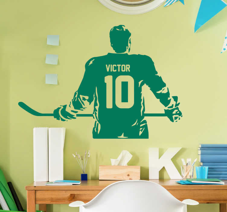 TenStickers. Ice Hockey Player Customisable Sticker. Decorate your home with this wonderful customisable wall sticker, devoted to the incredible world of ice hockey! Available in 50 colors.